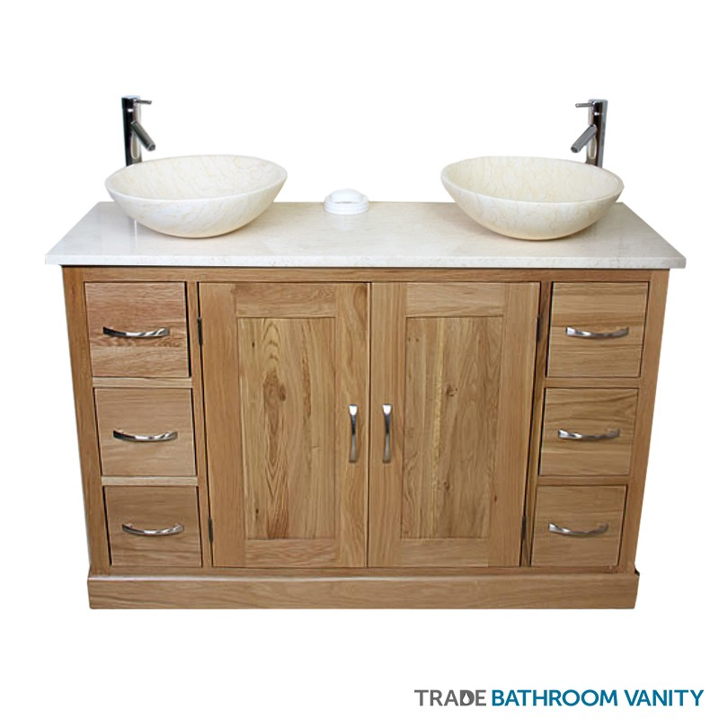 Double marble vanity unit beige tbv142 bm trade bathroom vanity - Marble vanity units ...